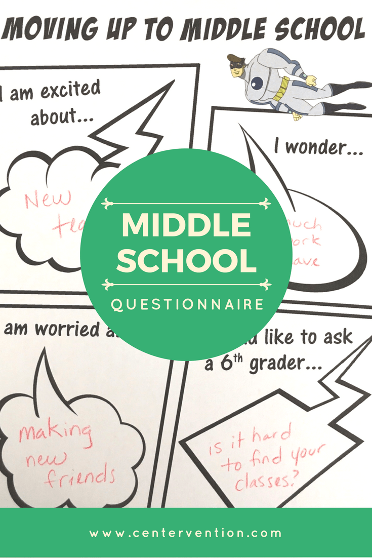 Transition to middle school activity worksheet for moving up to middle school