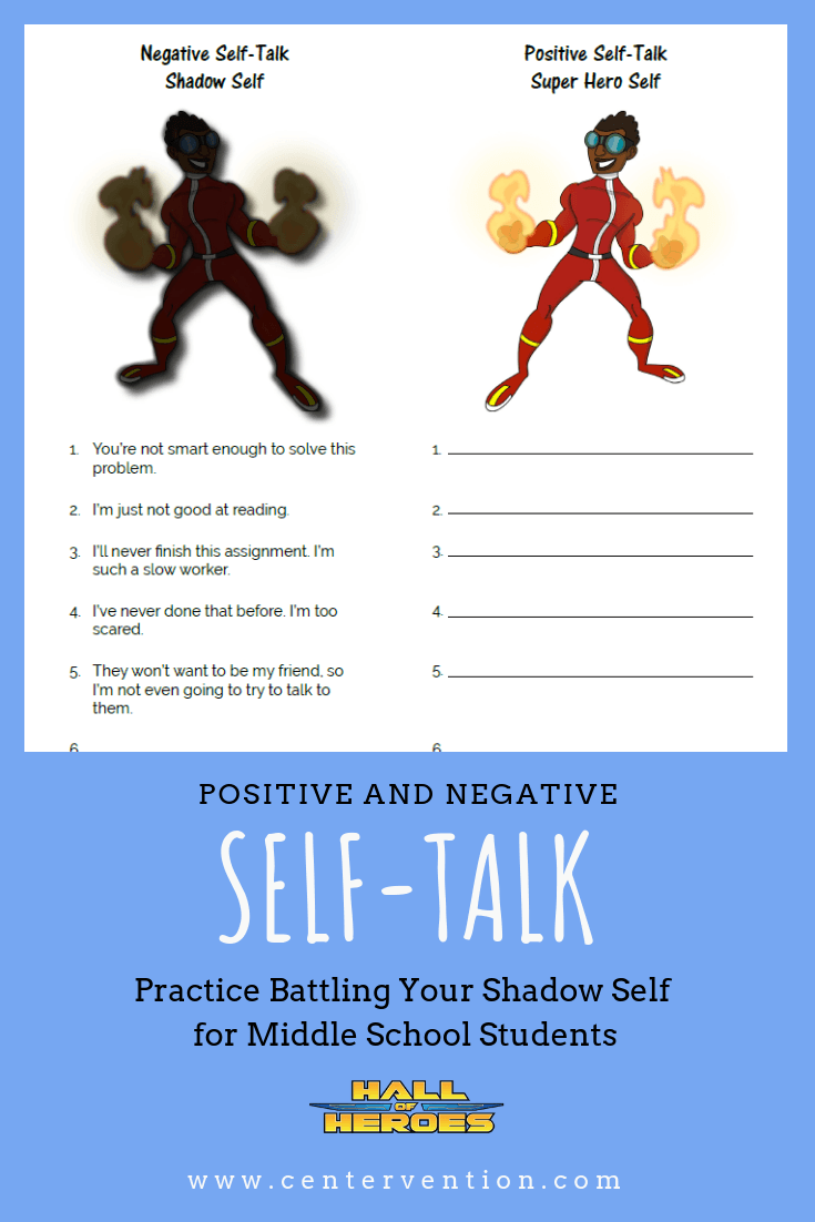 self talk worksheet for middle school counseling