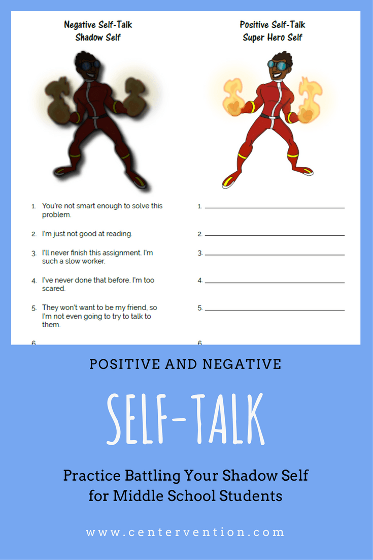 Positive and Negative SelfTalk – Negative Self Talk Worksheet